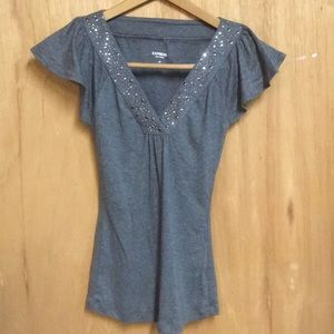 Express short sleeve top in heather grey